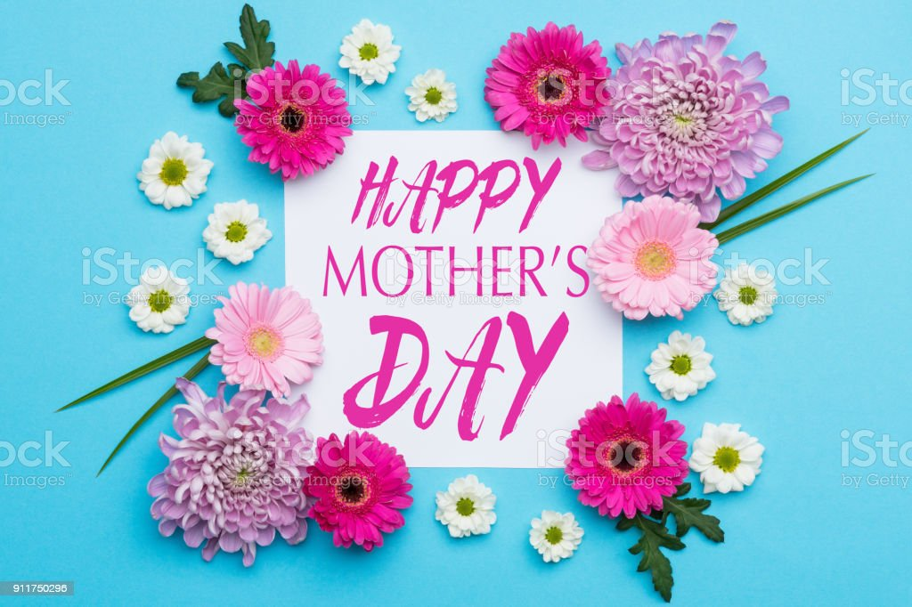 Happy Mother's Day Pastel Candy blue Colours Background. Floral flat lay minimalism greeting card. stock photo