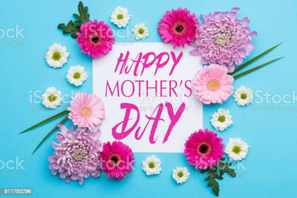 Happy Mothers Day Pastel Candy Blue Colours Background Floral Flat Lay Minimalism Greeting Card Stock Photo - Download Image Now