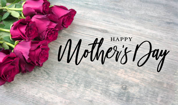 happy mother's day script with bright pink roses over wood - happy mothers day type stock photos and pictures