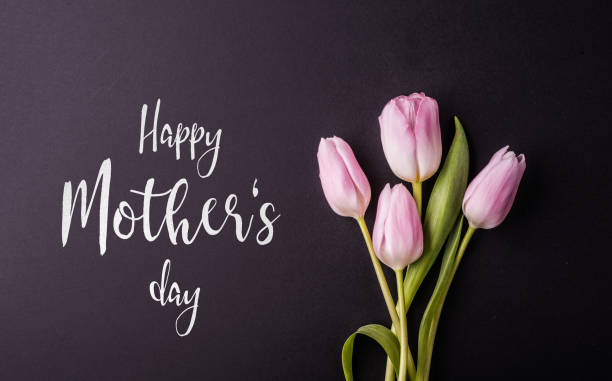 happy mothers day sign and flowers composition. studio shot. - happy mothers day type stock photos and pictures