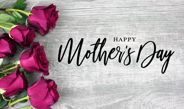 happy mother's day typography with bright pink roses over wood - mothers day stock pictures, royalty-free photos & images