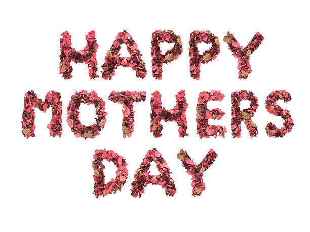 happy mother's day wording from red dried flowers - happy mothers day type stock photos and pictures
