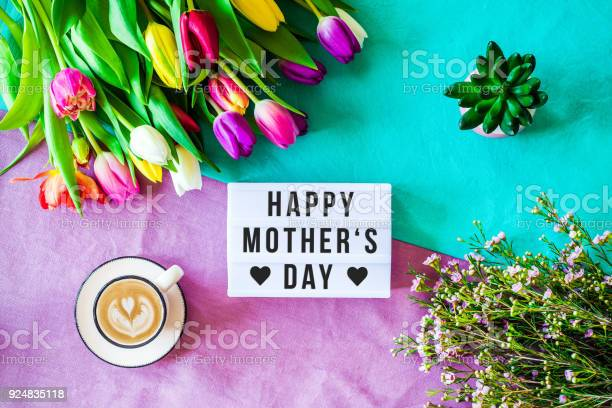 Happy Mothers Day Written In Lightbox With Spring Flowers From Above Stock Photo - Download Image Now