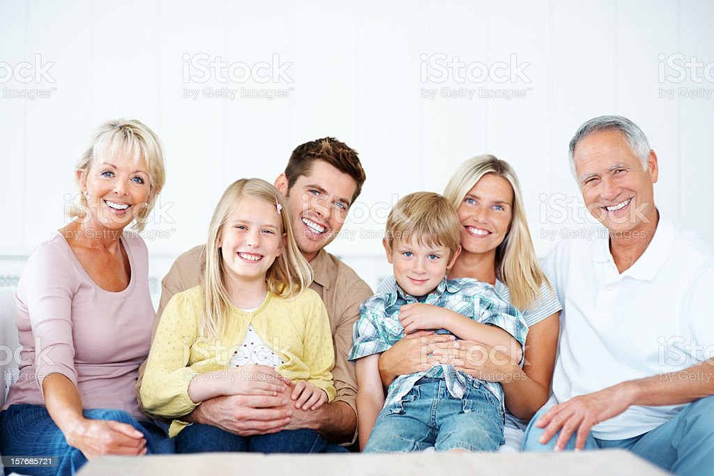 Happy multi generational family having a good time together royalty-free stock photo