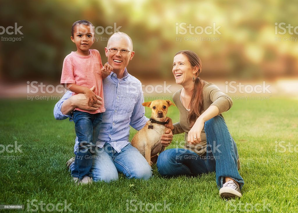 Happy Multicultural Family in Backyard stock photo