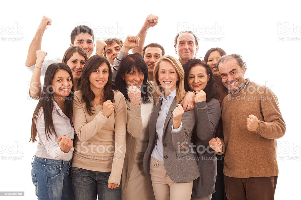 Happy Multicultural Group of People on White royalty-free stock photo