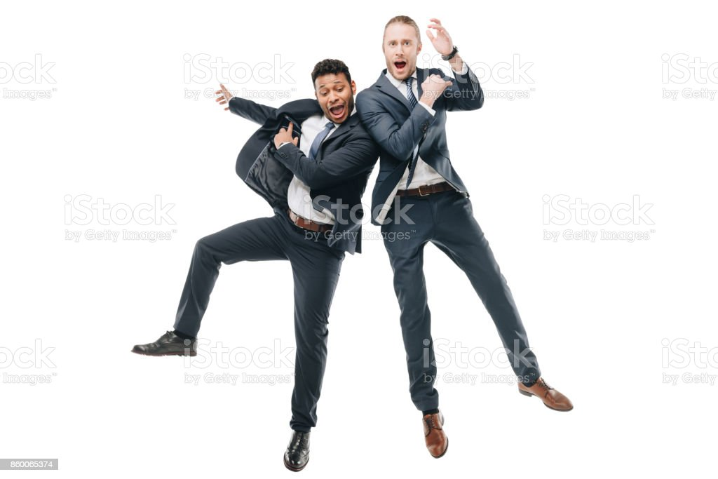 happy multiethnic businessmen stock photo