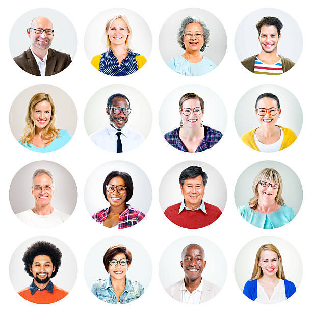 happy multiethnic peoples' headshot - profile view stock photos and pictures