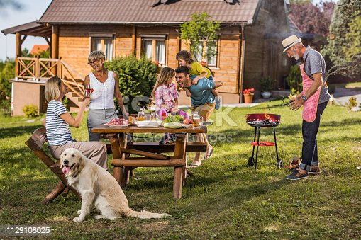 istock Happy multi-generation family having fun during barbecue time outdoors. 1129108025