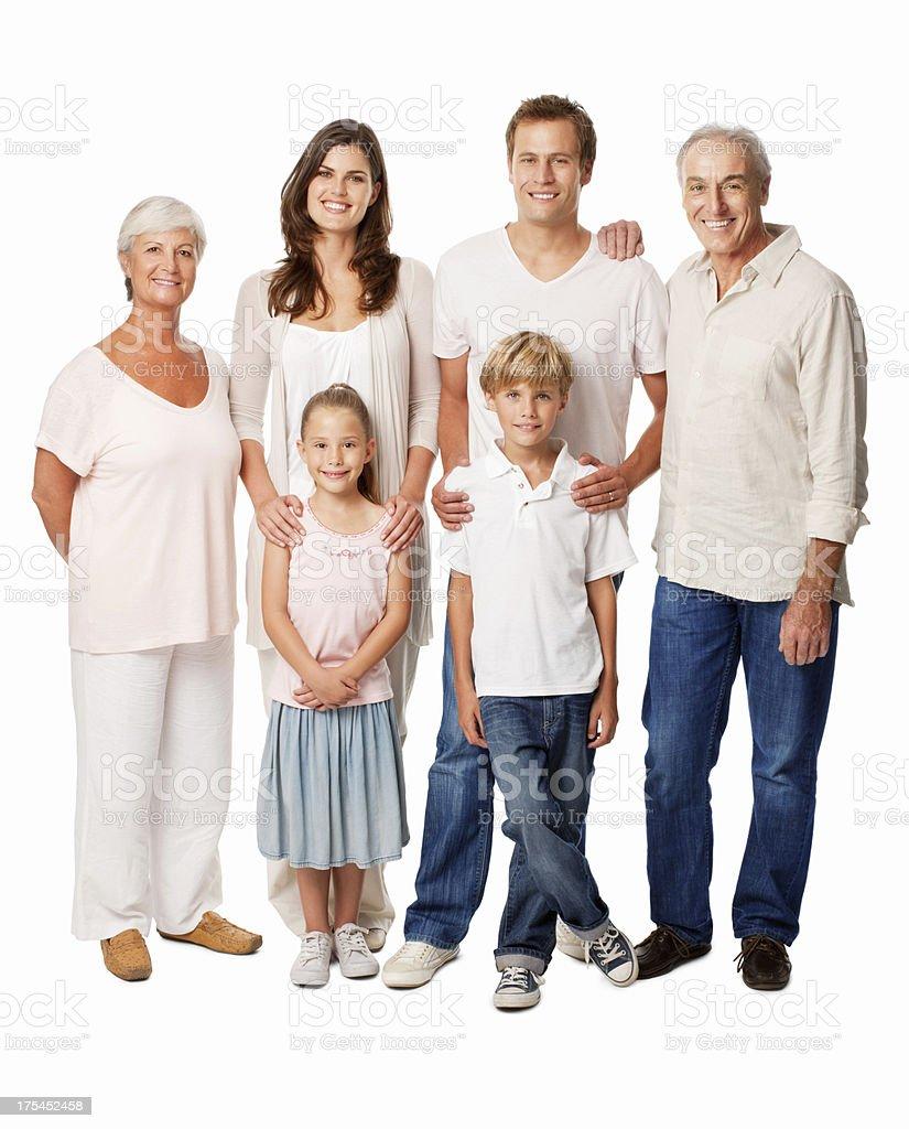 Feliz Multi-Generation Family aislado - foto de stock