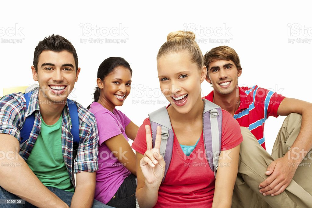 Happy Multiracial College Students - Isolated royalty-free stock photo