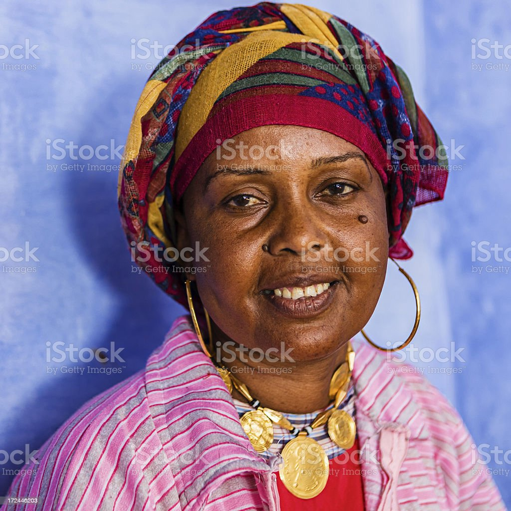 Happy Muslim woman in Southern Egypt royalty-free stock photo
