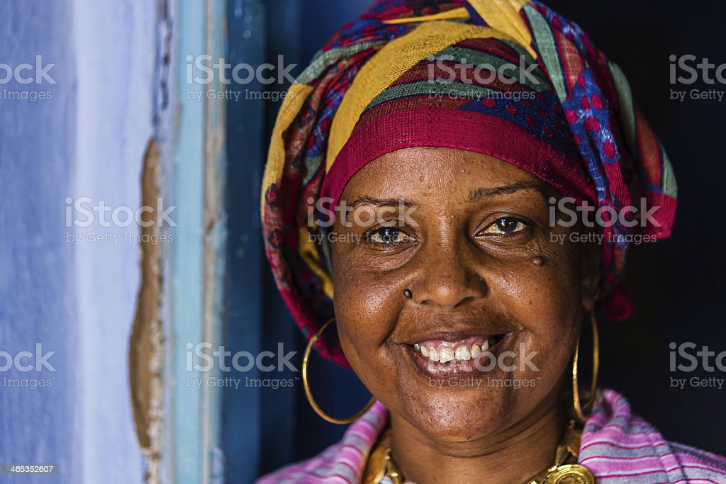 Happy Muslim woman in Southern Egypt stock photo