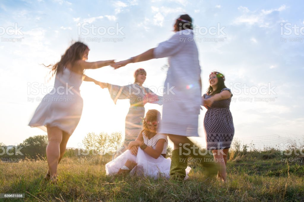 Happy mystical women stock photo