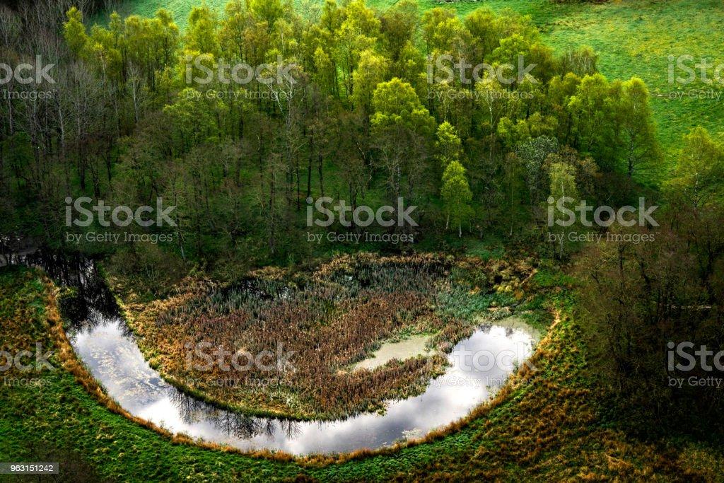 笑みを浮かべて湖と幸せな性質 - ダムのロイヤリティフリーストックフォト