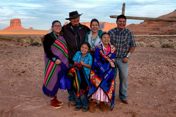 happy navajo family - navajo culture stock photos and pictures