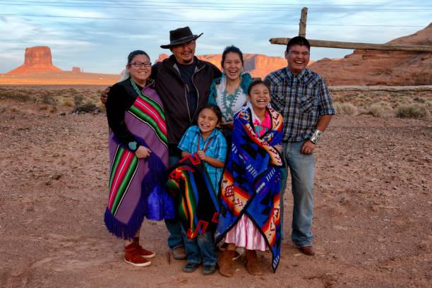 Happy Navajo Family stock photo