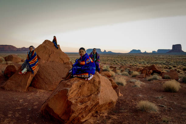 happy navajo family - native american reservation stock photos and pictures