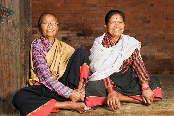Happy Nepali ladies. stock photo
