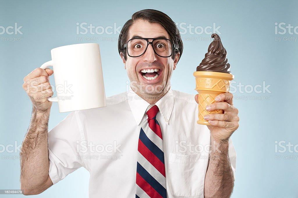 Happy Nerd With Ice Cream Cone And Coffee stock photo