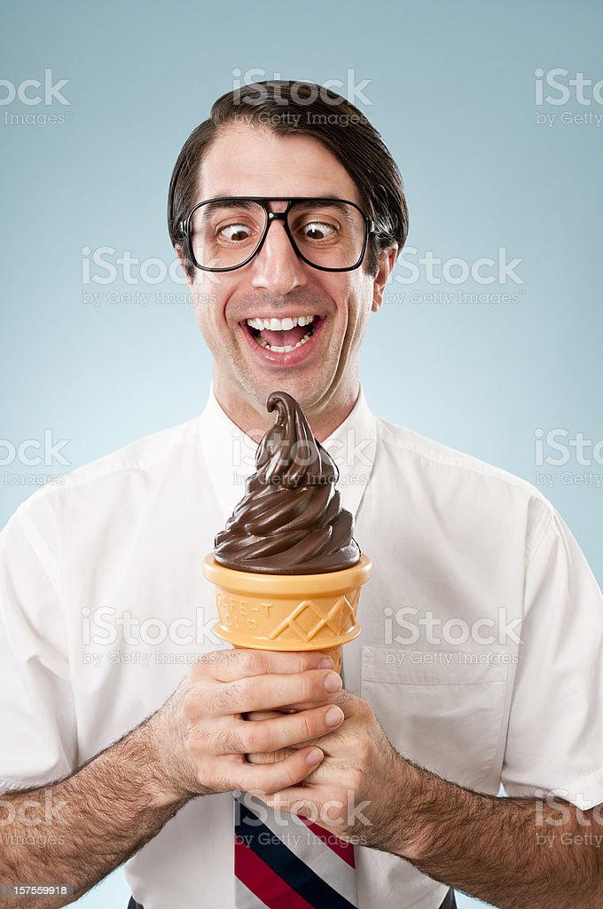 Happy Nerd With Ice Cream Cone stock photo