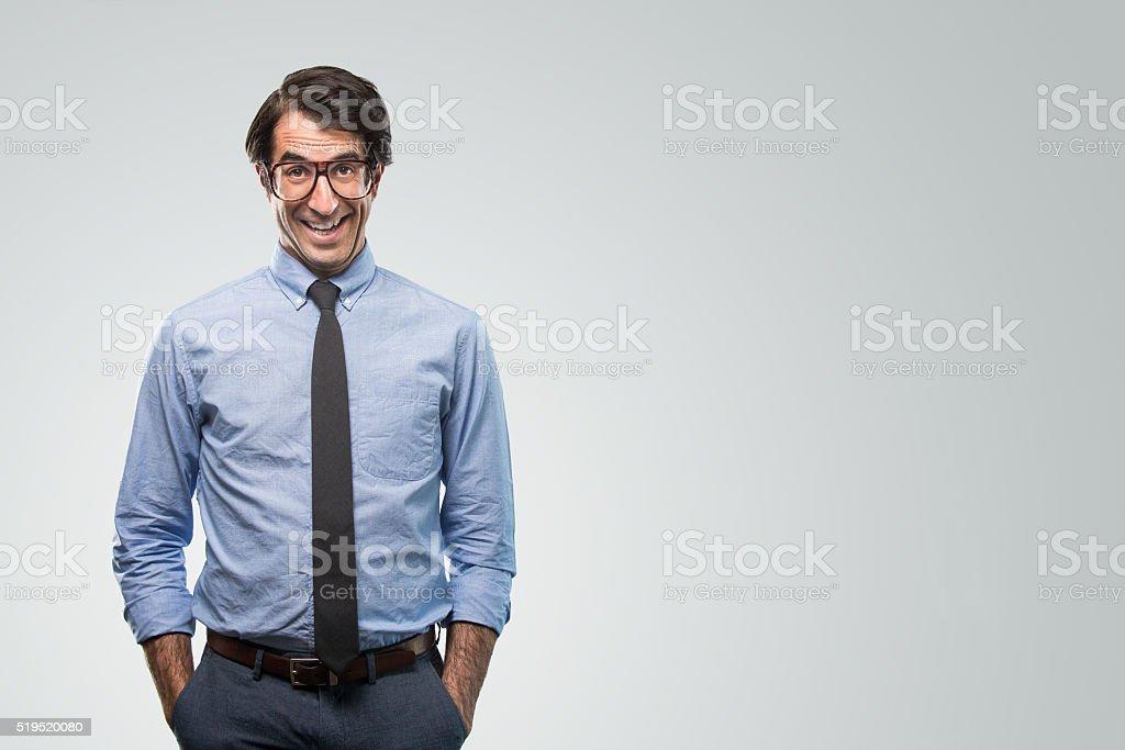Happy Nerdy Businessman stock photo