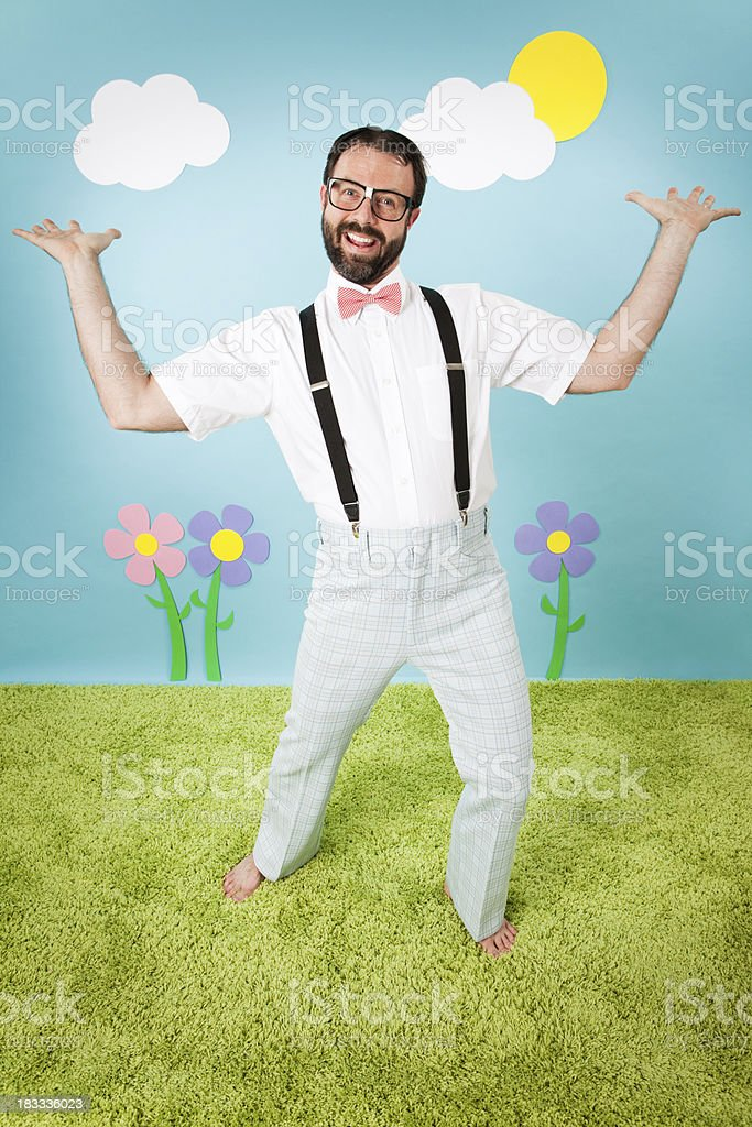 Happy, Nerdy Man Posing in Whimsical, Outdoors Environment royalty-free stock photo