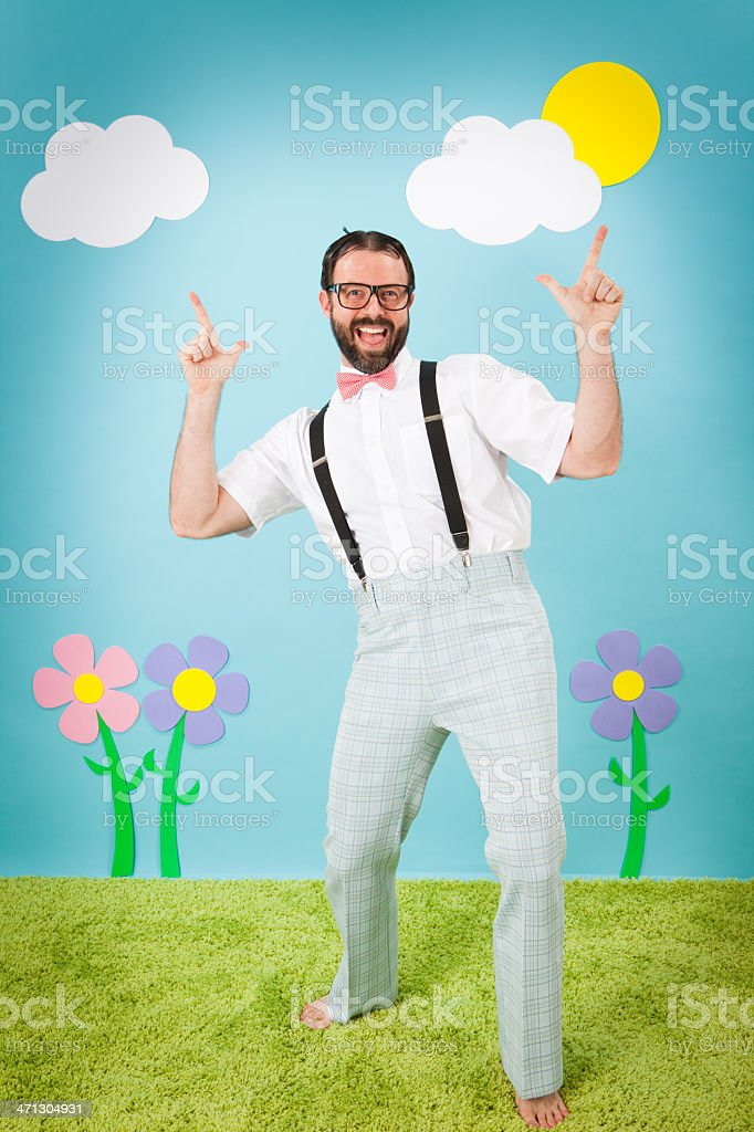 Happy, Nerdy Man Smiling While Making 'Loser' Sign royalty-free stock photo