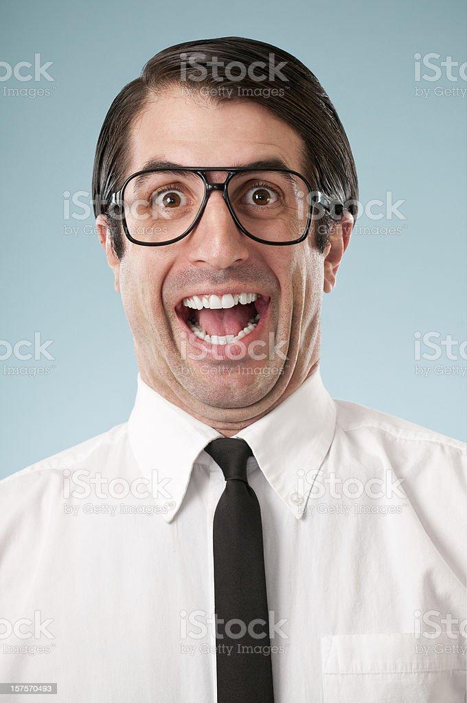 Happy Nerdy Office Worker stock photo