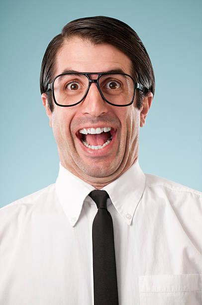 happy nerdy office worker - 諷刺畫 個照片及圖片檔