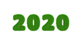2020 is a good year for growth in environmental business. Grass growing in the shape of year 2020.