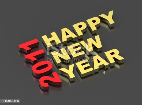 istock Happy New Year 2011, text on black 119846120