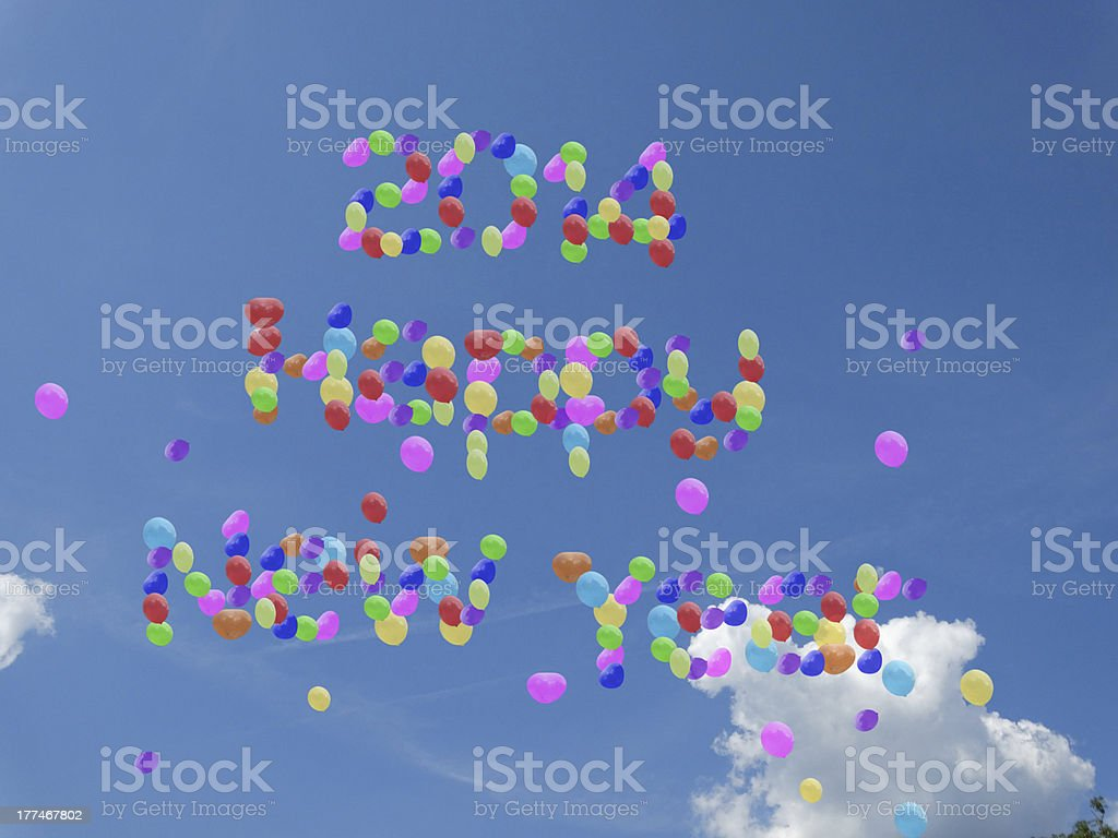 happy  new year 2014 balloons in sky royalty-free stock photo