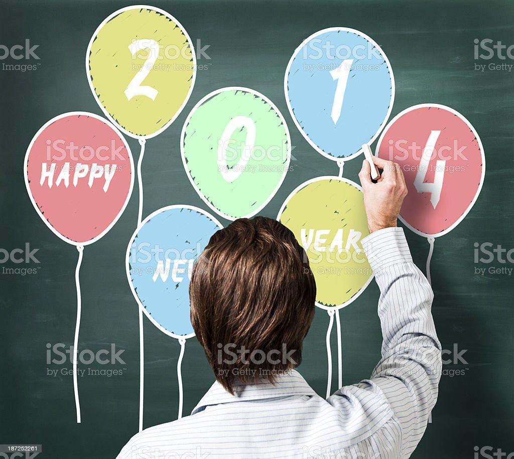 Happy New Year 2014 balloons written on blackboard royalty-free stock photo