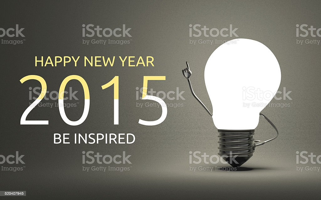 Happy New Year 2015, be inspired greeting card stock photo