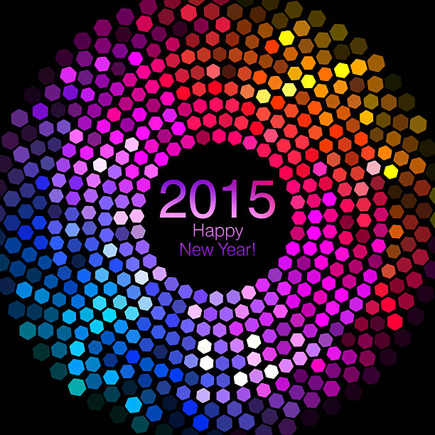 happy new year 2015 - hexagon disco lights - disco lights stock photos and pictures