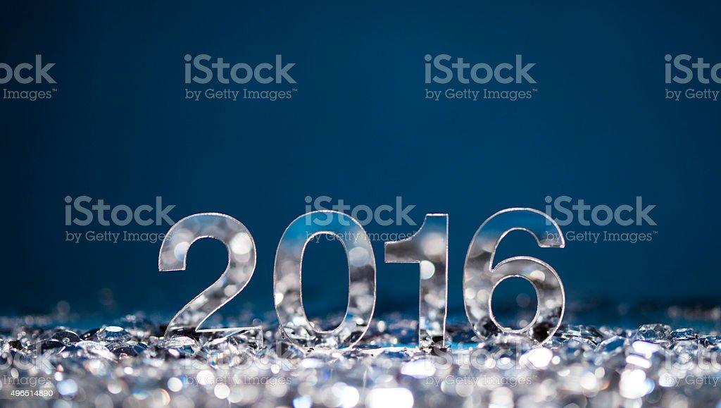 Happy New Year 2016 blue shiny bright copy space stock photo