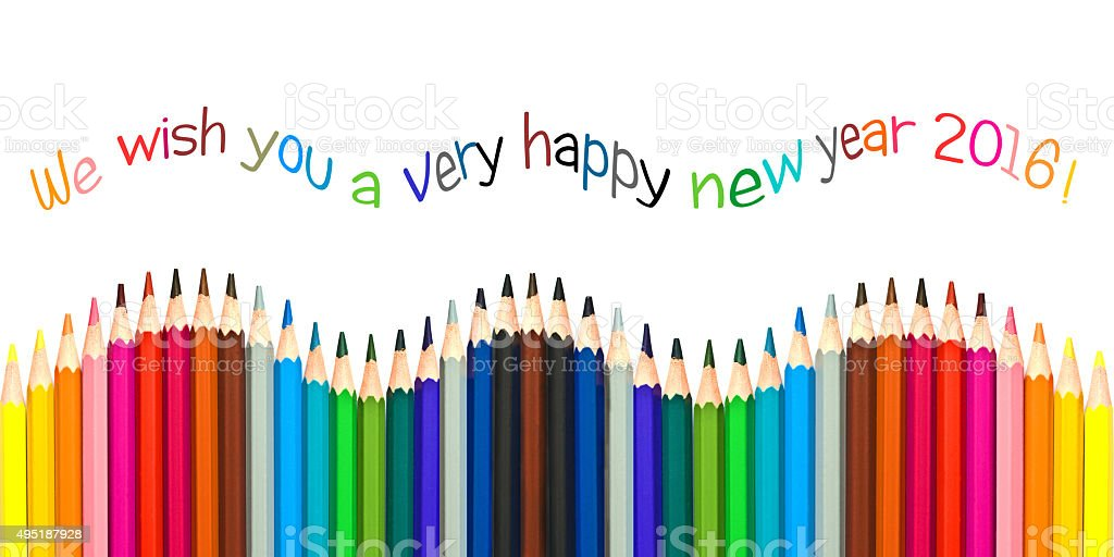 Happy New Year 2016 Greeting Card Colorful Pencils Stock Photo
