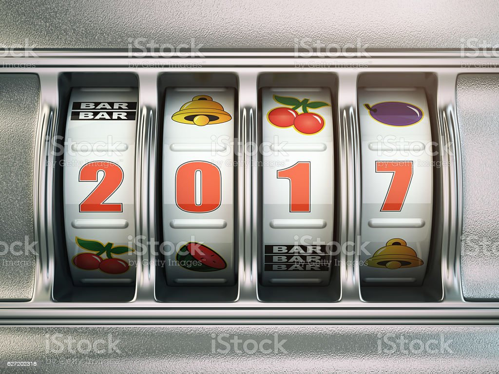 Happy New Year 2017 in casino. Slot machine stock photo