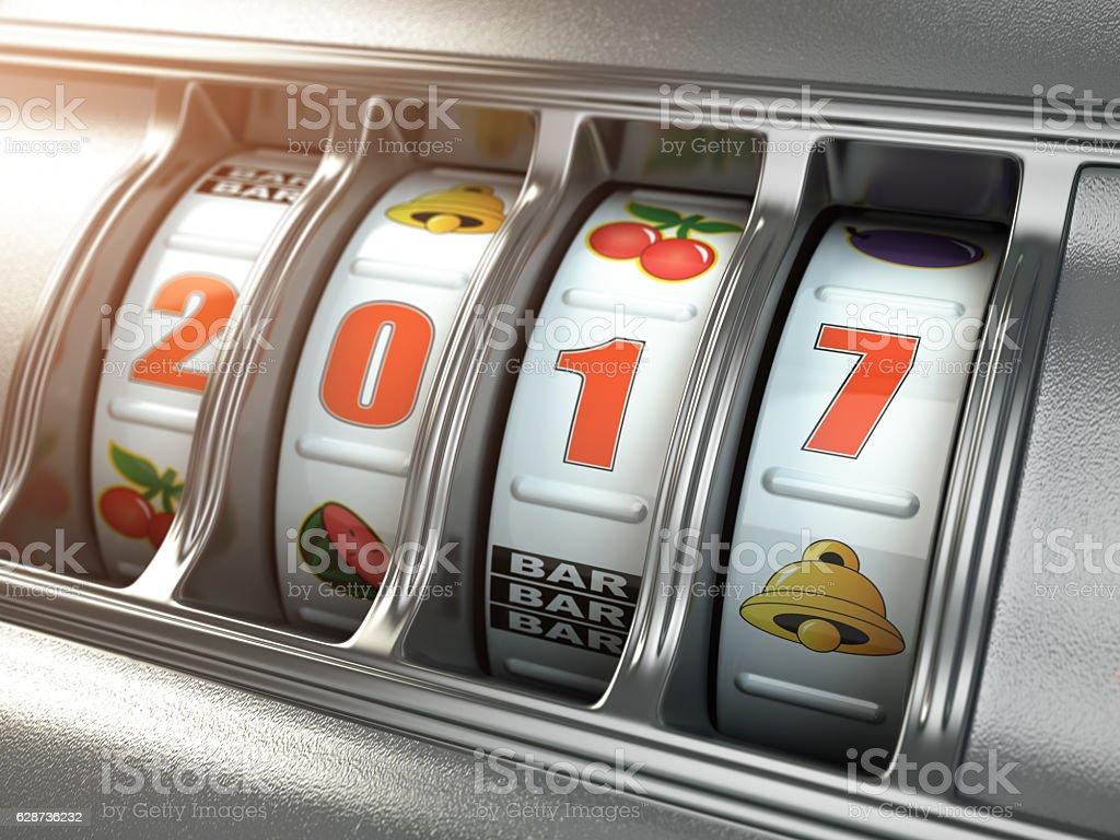 Happy New Year 2017 in casino. Slot machine with 2017 stock photo