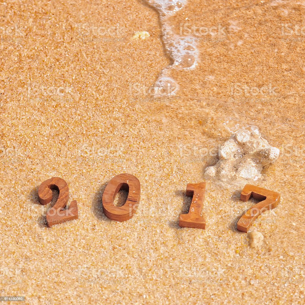 happy new year 2017 on beach royalty free stock photo