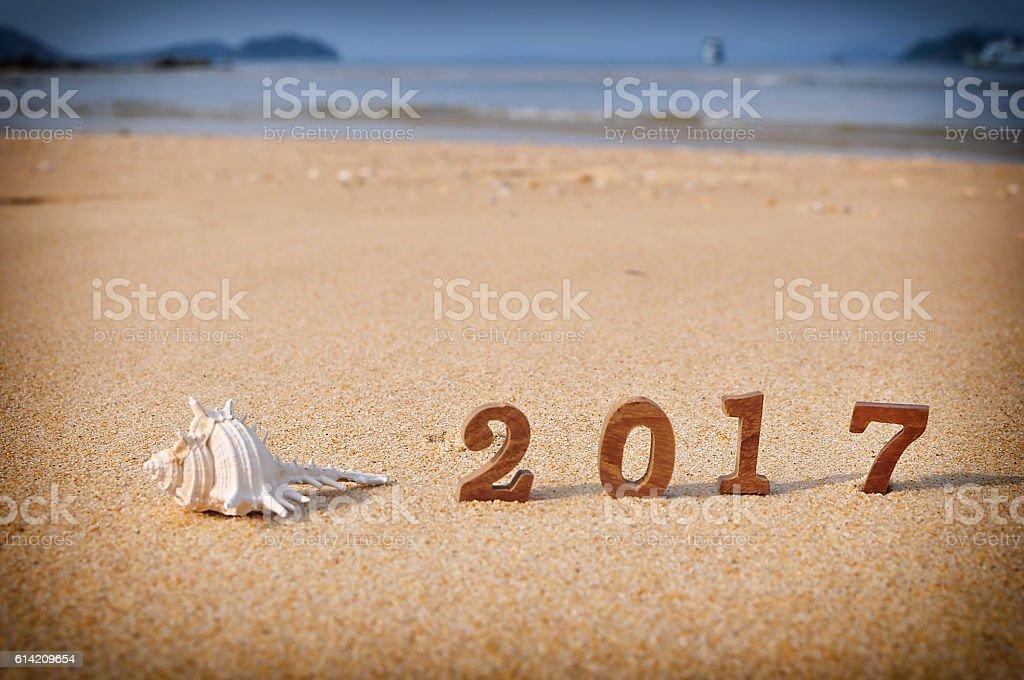 happy new year 2017 on beach royalty free stock photo