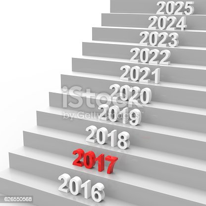 istock Happy new year 2017 on stairs 626550568