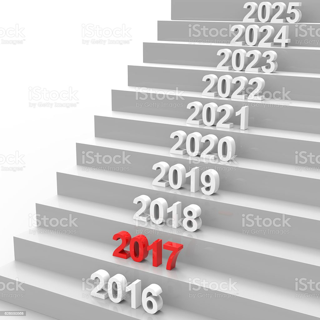 Happy new year 2017 on stairs stock photo