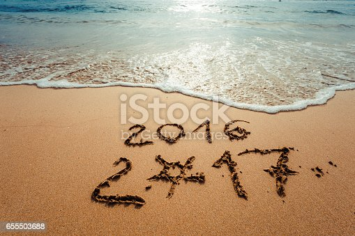 istock Happy New Year 2017 on the beach 655503688