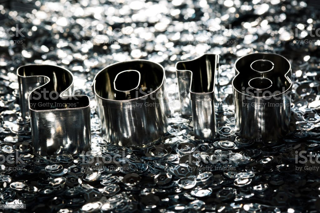 Happy New Year 2018 Back Lit Metal Letters Stock Photo ...