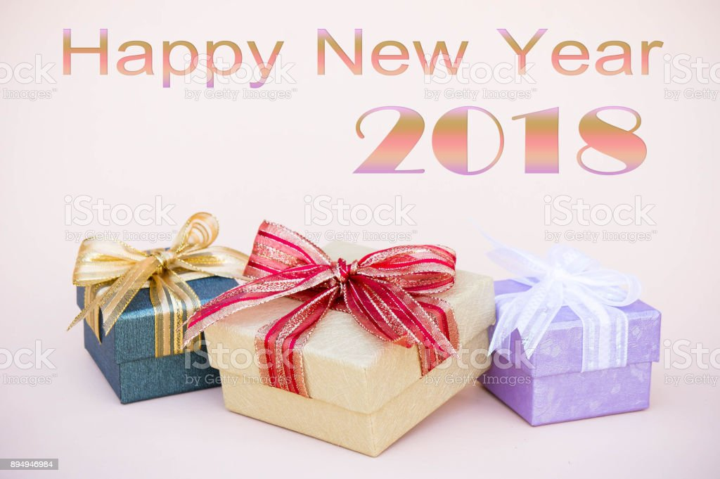 happy new year 2018 background gifts box decor for new year and christmas background and copy
