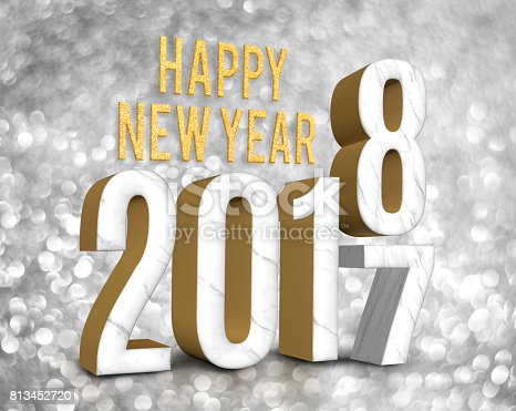 istock Happy new year 2018 (3d rendering)  change year from 2017 on silver glitter bokeh lights background,New year and Christmas greeting card 813452720