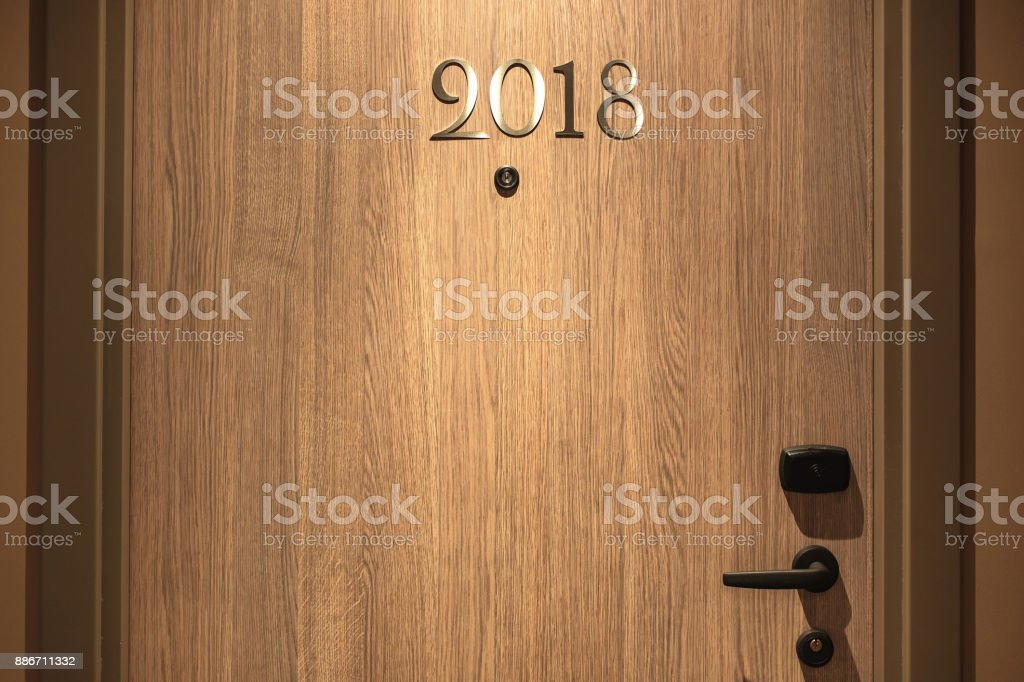 Happy New Year 2018 concept, lettering on the Hotel door stock photo