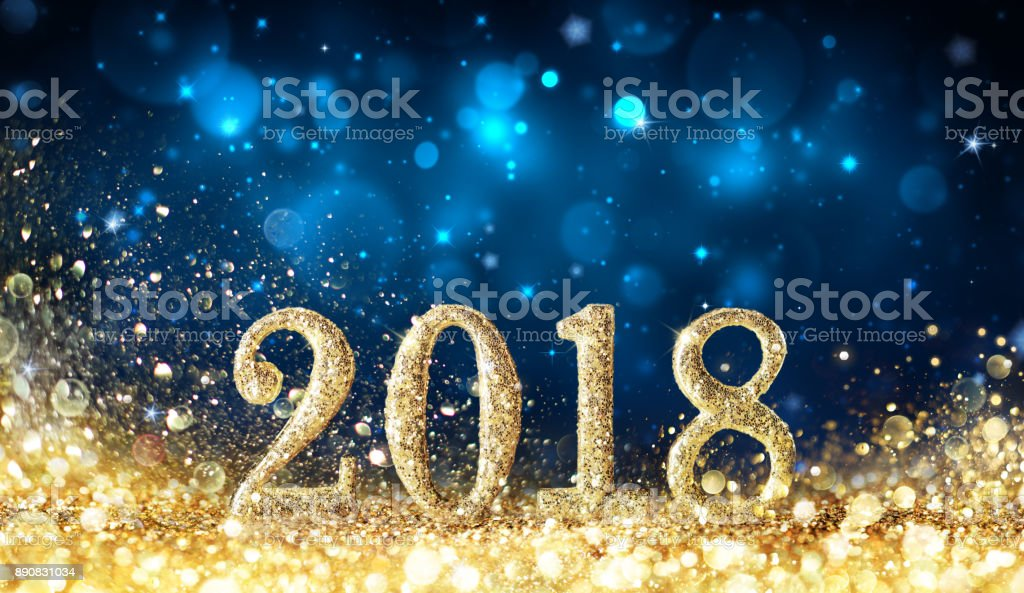 Happy New Year 2018 - glitzernden goldenen Staub – Foto